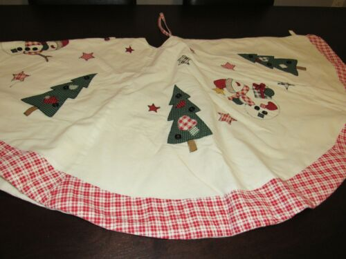 Vintage Country Christmas Tree Skirt Cream w Applique Snowman Trees Button