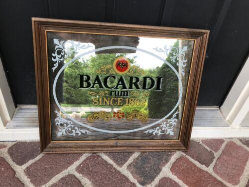 Vintage Bacardi Rum Mirrored Sign