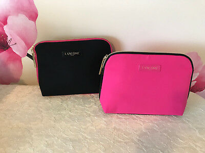 2 Lancome Paris Makeup Cosmetic Bag Travel Case Hot Pink & Black  8 x 6.5 x 2.5