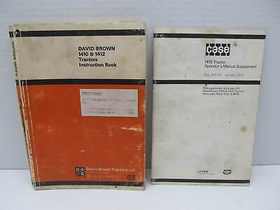 Case David Brown 1410 1412 Tractors Operators Instruction Manual Book W Supp