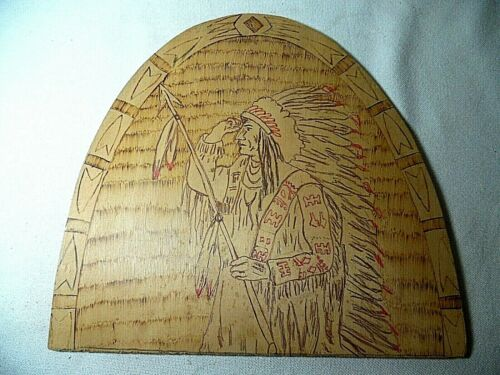 VINTAGE PYROGRAPHY WOOD BURNING ARCHED WOOD INDIAN SCOUT KIT BOARD ONLY