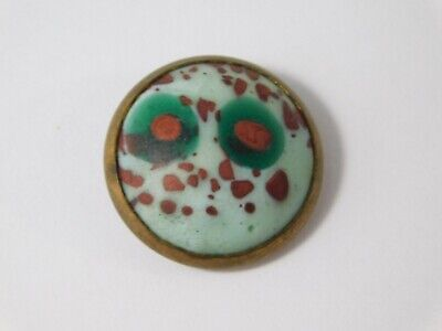 ATQ END DAY ART GLASS BRASS MARBLE BUTTON 3/4