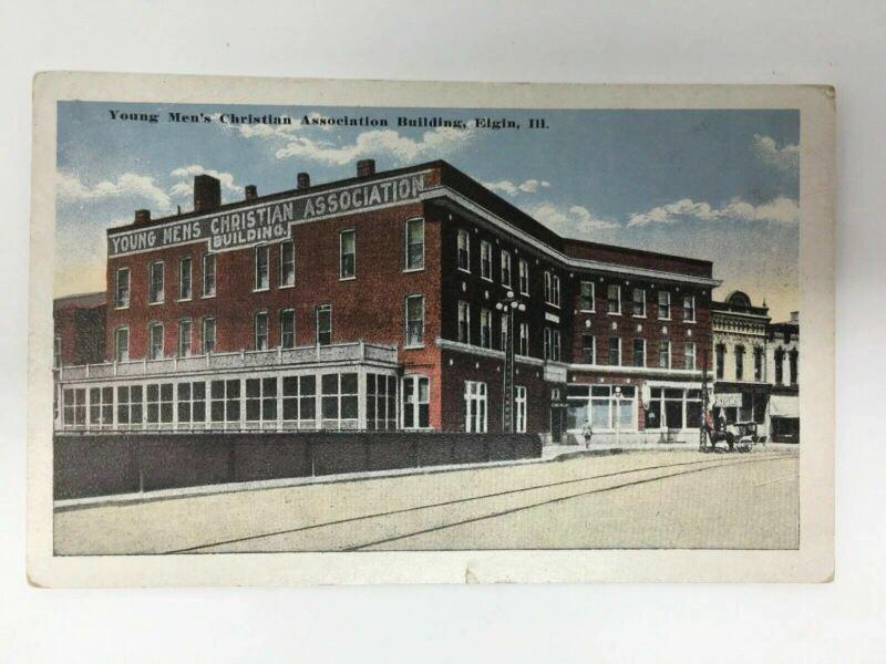 YMCA Building Vintage Postcard Elgin Illinois Young Men