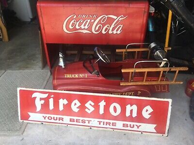 Large Vintage Double Sided Firestone Tires Gas Station Metal Sign