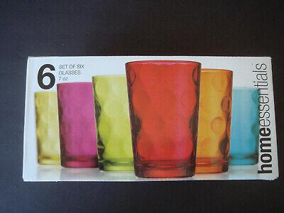 Polka Dot Drinking Glasses (NEW HOME ESSENTIALS Polk Dot Multi set of 6 Glass Drinking)