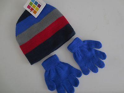 NEW Boy Girl Toddler Size 18-24 months HEALTHTEX Gloves Beanie Hat Blue Striped