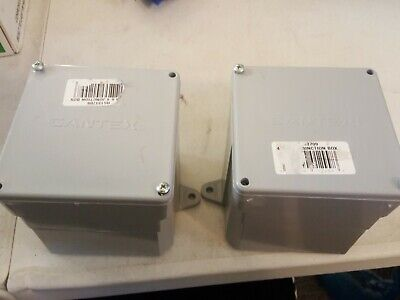 2 Pack Cantex 4 In. Square Pvc Junction Box Gray