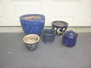 Set of blue ceramic pots and watering can Newcastle Newcastle Area Preview