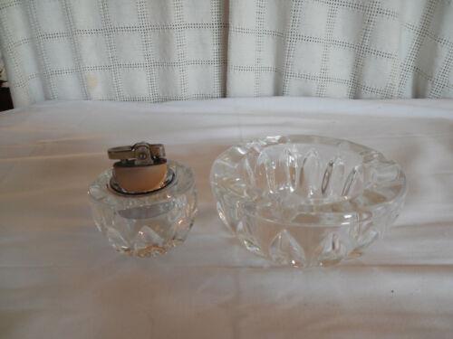 Heavy crystal lighter & ashtray set nesting set nice!