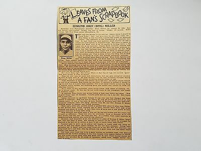Bing Miller 1934 Sporting News Leaves From A Fans Scrapbook Insert Rare