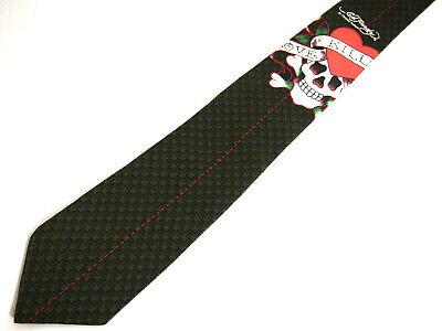 Ed Hardy Love Cross - Ed Hardy Mens Necktie Tie Skull & Cross Bones Love Kills Logo Skinny Green Silk