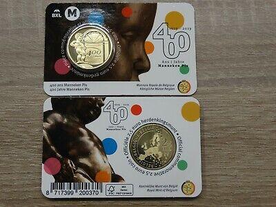 2 x 2,5 euro Gedenkmünze Belgien 2019 Manneke Pis in Original Coincard FR und NL