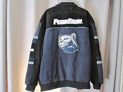 Real Sports Fashion Carl Banks Adult XL Penn State Coat Jacket Suede Leather EX.