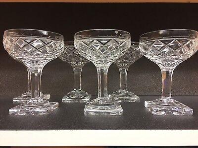 6 coupes à champagne en cristal Mod Ste Hélène taille losange.Val Saint Lambert