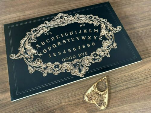 Large Black Victorian Design Ouija Board Carved in Wood with Planchette. Spirit