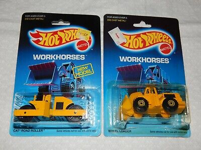 Hot Wheels Workhorses Vehicles (2) - CAT Road Roller & Wheel Loader -NEW- 1980's