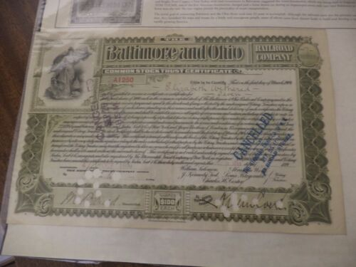 Baltimore and Ohio Railroad Company Stock Certificate Cancelled 1899 7 Shares