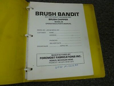 Brush Bandit 86 Brush Chipper Parts Catalog Owner Operator Maintenance Manual