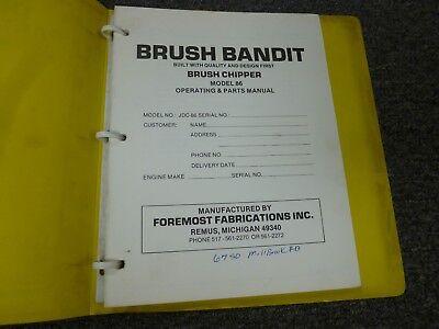 Brush Bandit 86 Brush Chipper Parts Catalog Owner Operator Maintenance Manual