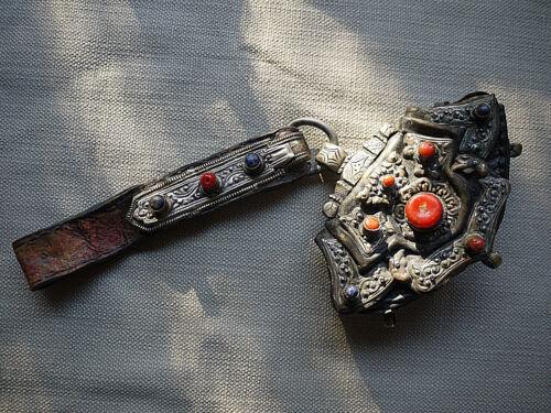ANTIQUE TIBETAN LEATHER TINDER FLINT POUCH CHUCKMUCK RED CORAL BRASS SILVER