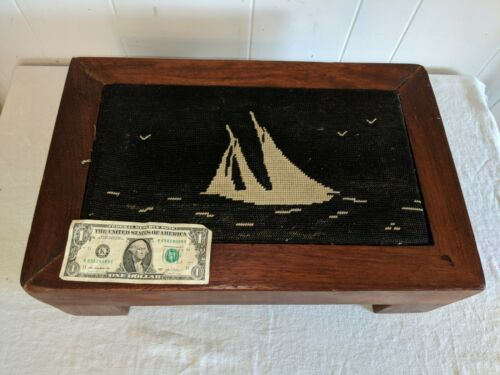 Antique American Mahogany Sailboats Boat Yacht Nautical Needlepoint Footstool
