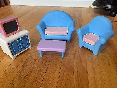 Vintage Little Tikes Dollhouse Family Living Room Set TV Barbie Size Furniture