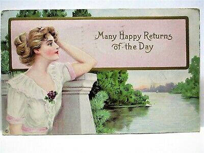 1928 POSTCARD MANY HAPPY RETURNS OF THE DAY, LADY BY RIVER