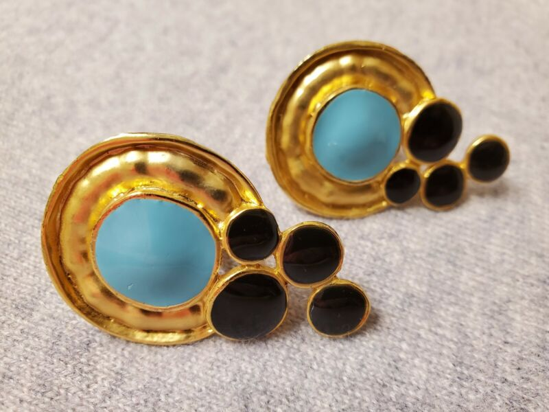 Vintage Gold Tone Clip-On Fashion  Earrings with Baked Enamel Turquoise & Onyx