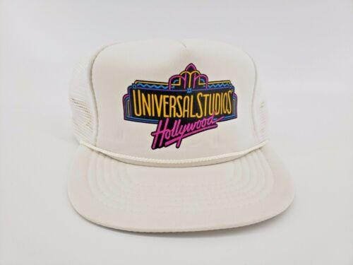 Vtg Universal Studios Hollywood Hat Cap Adjustable Snapback Mesh White Neon NOS