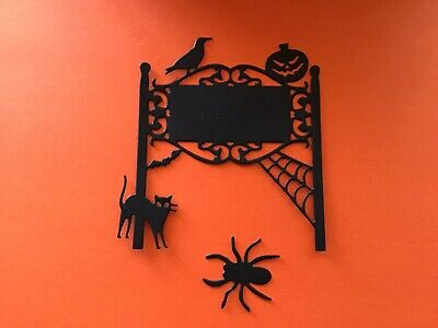 "Halloween Sign Post (Halloween Sign Post w/spider, Web & cat Die Cut Embellishments 6 pcs 3-1/2"" X)"