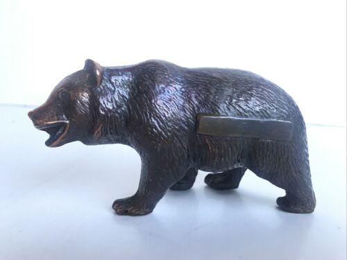 Antique Bear Sculpture Metal Copper Bronze Brass Art Figure 4.5 Long 2.5 Tall - $10.00