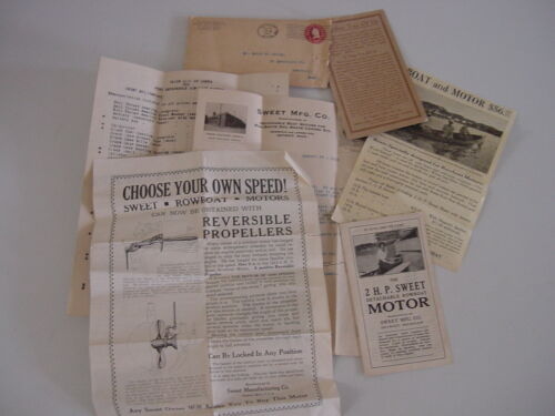 RARE Antique 1915 Sweet Mfg. Co. Detroit Michigan Boat Motor Advertising Lot