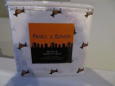 Dachshund Dog Skull & Bones Pumpkin Queen Size Microfiber Sheets Halloween NEW