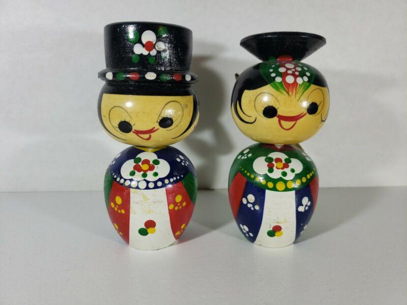 Vintage Wooden Bobble Heads / Nodders Dolls Korea Bride and Groom