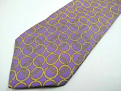 Versace Men's Neck Tie 100% Silk Designer Italy Purple Rings