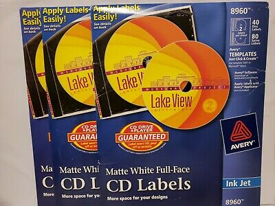 3 PACKS Avery Inkjet Full-Face CD Labels Matte White 40/Pack 8960 Ink Jet Full Face Matte Cd Label