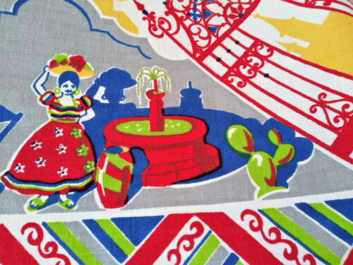 Gorgeous Vintage Mexican Theme 50 x 50 Bright & Colorful Cotton Tablecloth