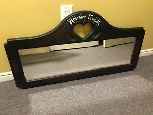 Wooden Hallway Mirror Welcome Dark Finish