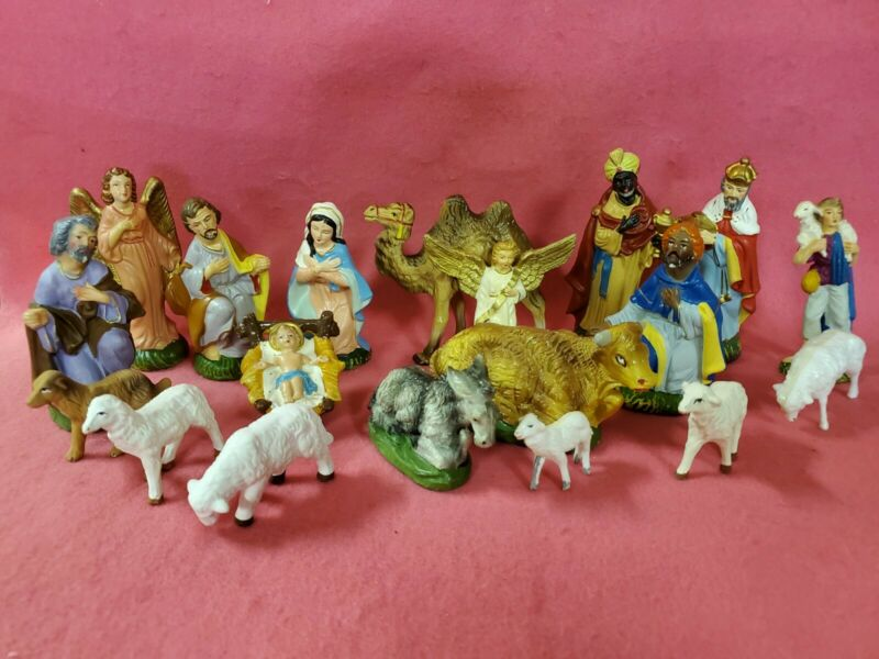 Vintage Made in Japan Nativity set also Italy figurines too Woolworth