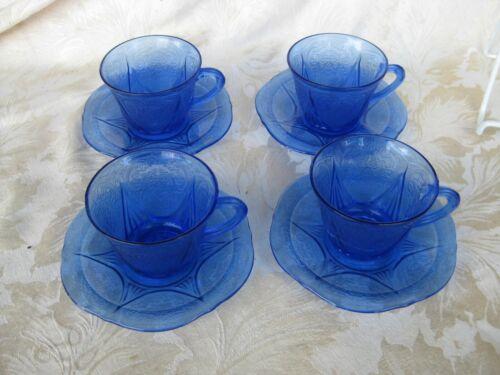 Beautiful Set of 4 Royal Lace Cobalt Cups & Saucers