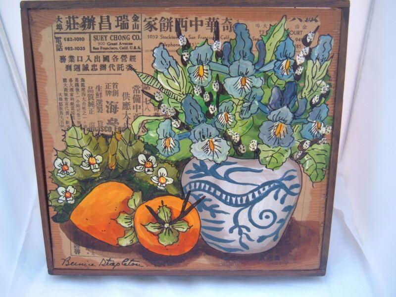 Mixed Media Bernice Stapleton Original Art flowers Fruit wood frame Signed