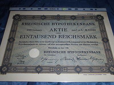 29 :histor.Wertpapier/Aktie : Rheinische Hypothekenbank , Mannheim 1928 ,1000 RM