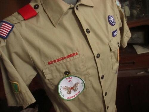 SMALL True Vtg 90s FULL NEBRASKA PATCHED BOY SCOUTS KHAKI CAMP SHIRT UNIFORM