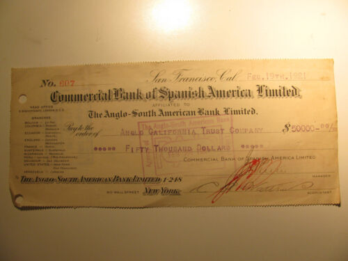 1921 $50,000 Check Affilated to The Anglo South American Bank