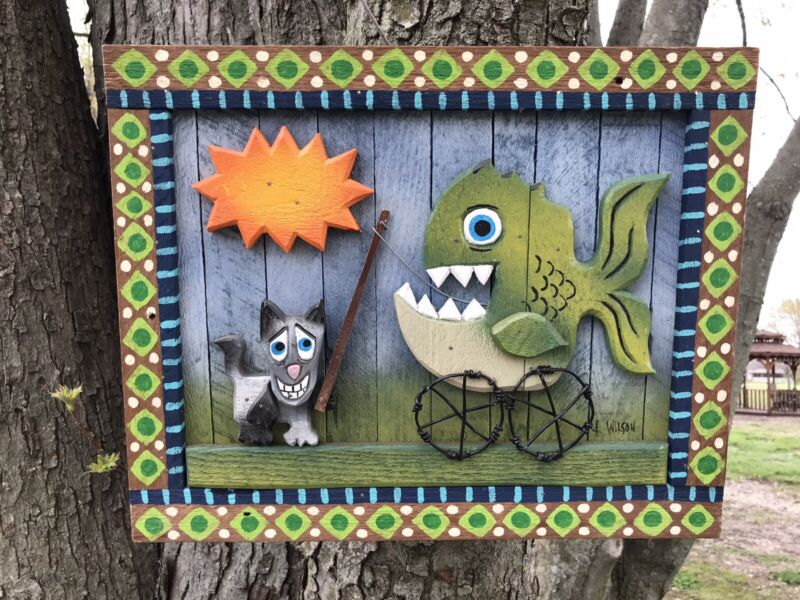 Whimsical Primitive Art Wooden Cat Big Fish Wall Picture Artist signed Wilson