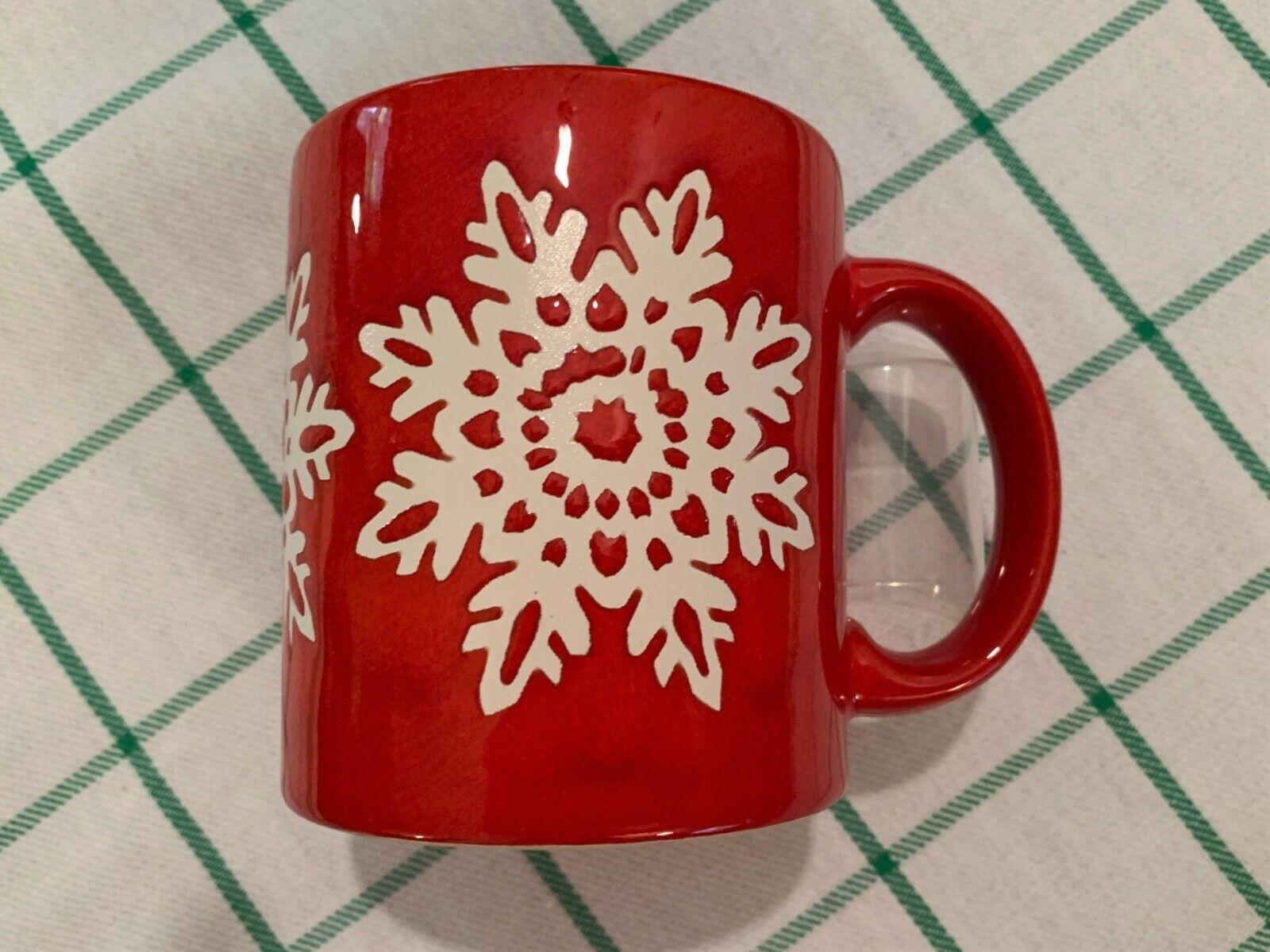 Waechtersbach Red Christmas Coffee Mug  w/ White Snowflakes