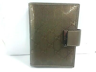 Auth GUCCI Imprime 115240 Khaki PVC &  Leather Schedule books