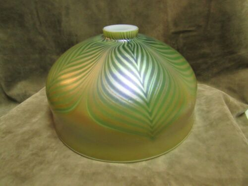 Art Nouveau Design Pulled Feather Iridescent Glass Student / Desk Lamp Shade