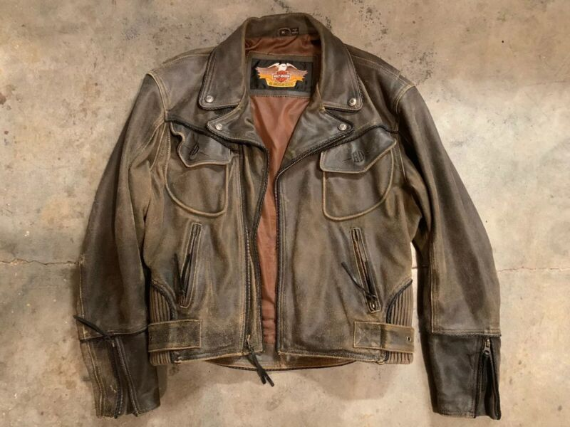 Harley Davidson Mens Med Leather Billings Jacket Great Condition !