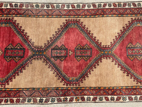 3x10 ANTIQUE RUNNER RUG WOOL HAND-KNOTTED vintage handmade geometric tribal 3x9